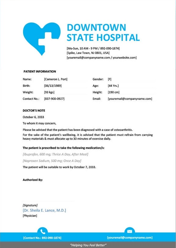9 best free doctors note templates for work