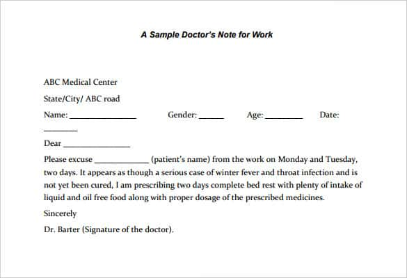 Free Printable Doctors Note for Work Six