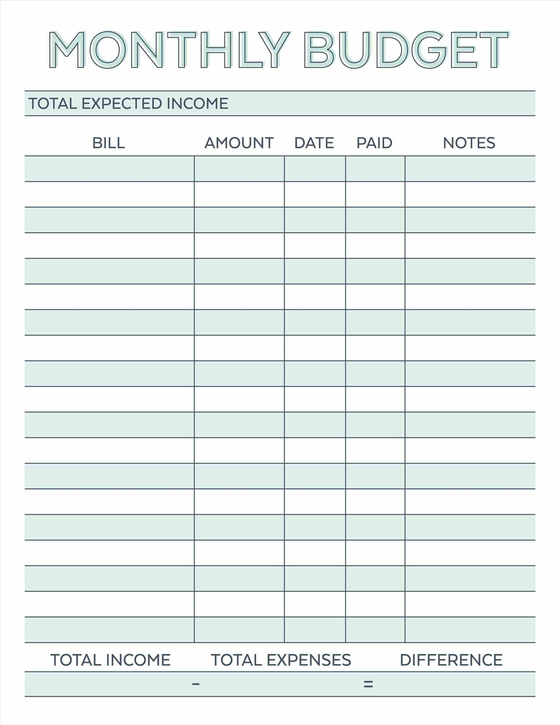 7 Simple Monthly Budget Template Every Last Template Free Download