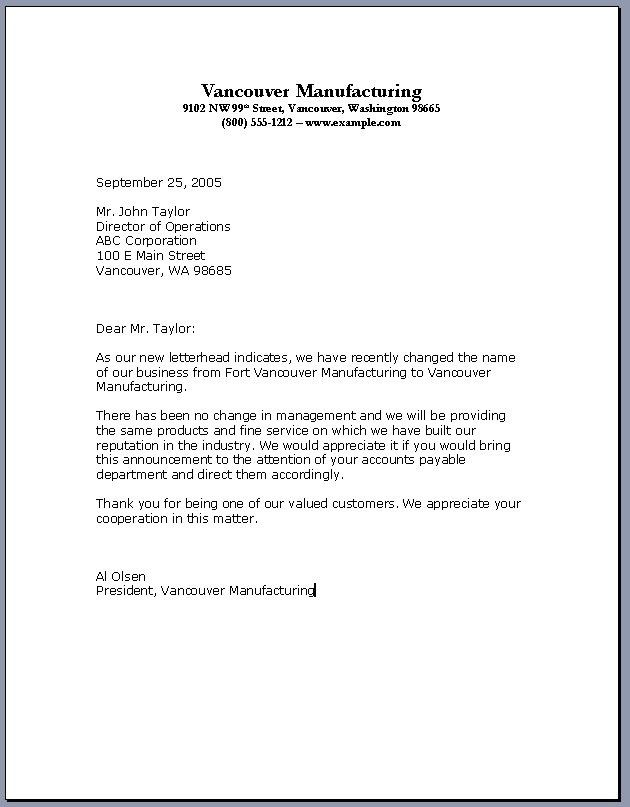 Official Letter Format Three