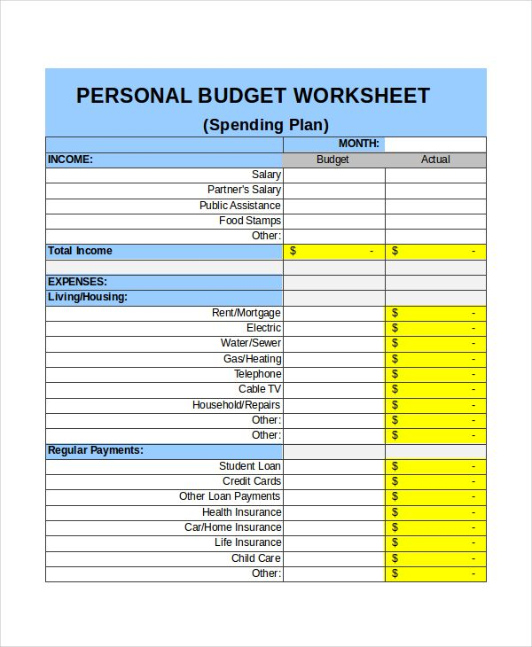 Personal Monthly Budget Template Seven