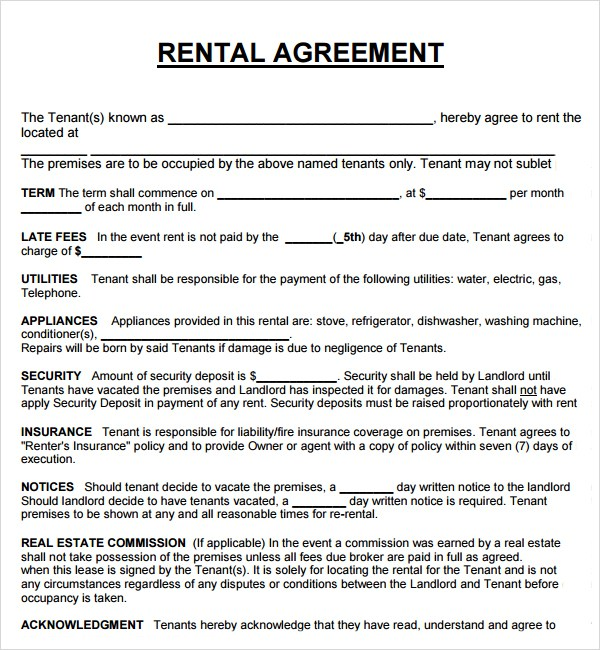 download free basic rental agreement template