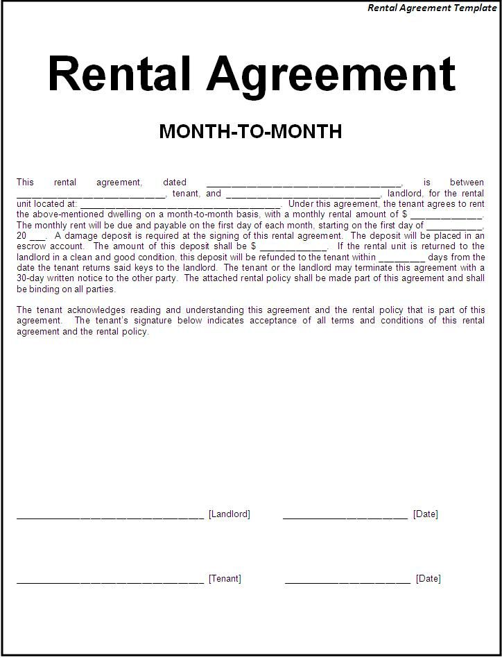 Simple rental agreement form (Month to Month) One