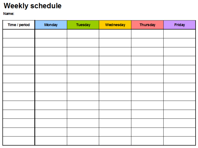 Weekly Planner Template Excel Two