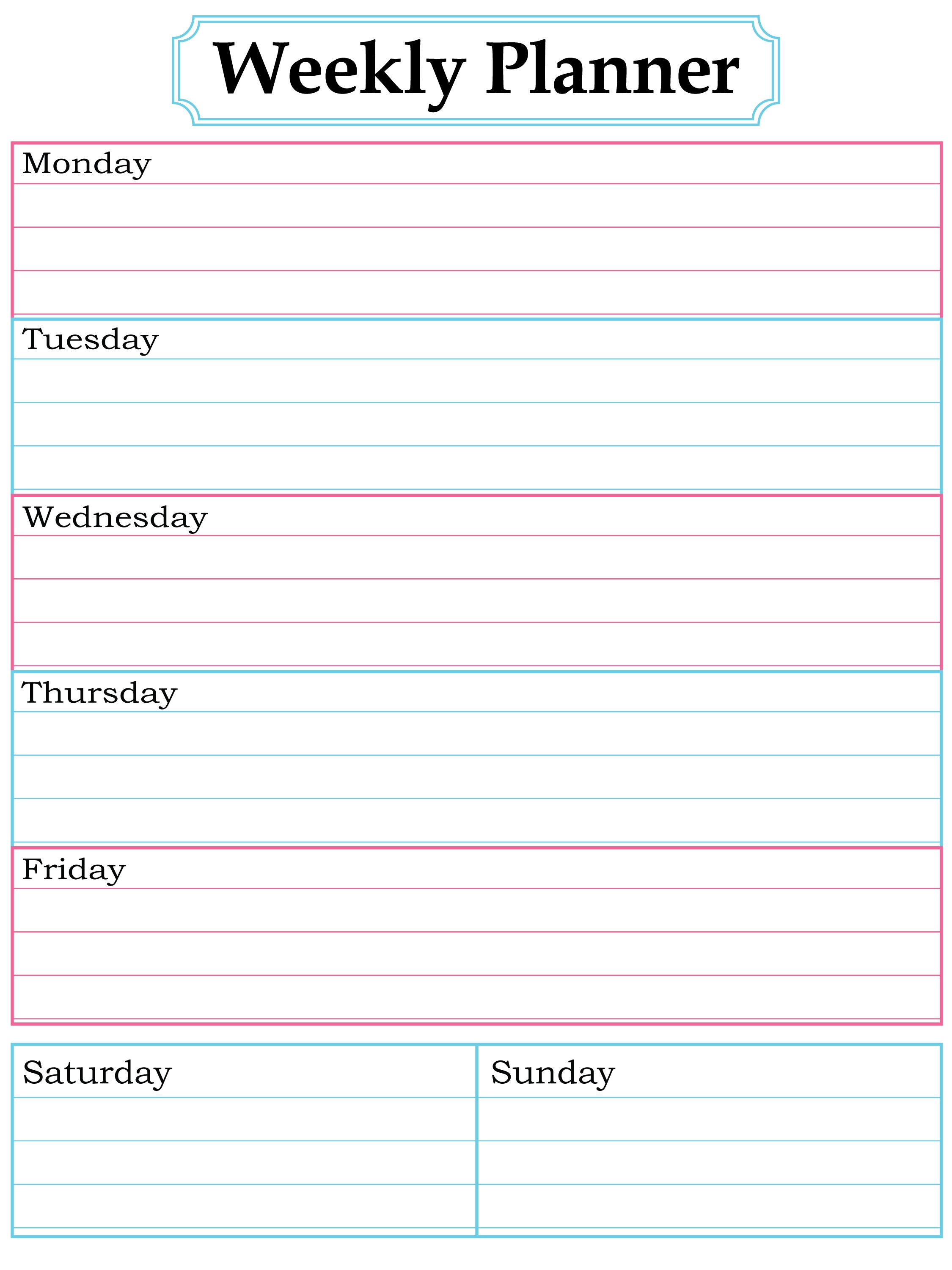 Weekly Planner Template Word Four