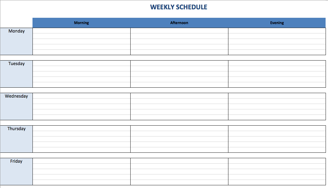 Weekly Schedule Template Five