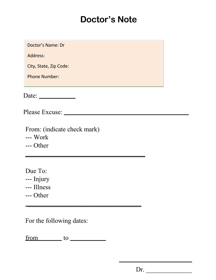 Exhilarating image within free printable dr note for work