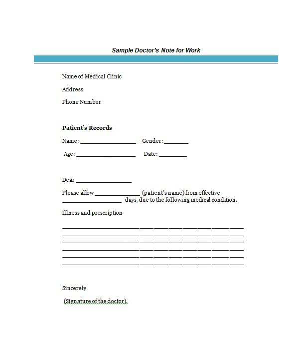 free printable doctors note for work seven