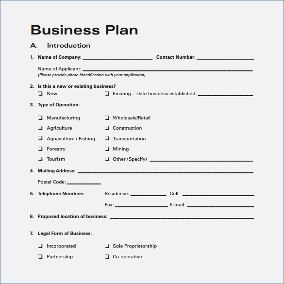 Blank Business Plan Template Three