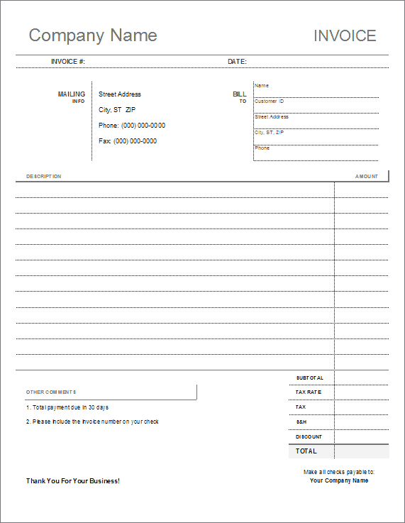Blank Invoice Template Four