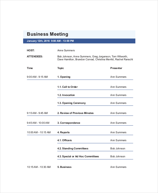 Business Meeting Agenda Sample Template Five-