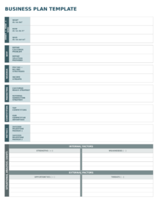 Business Plan Template Excel Six