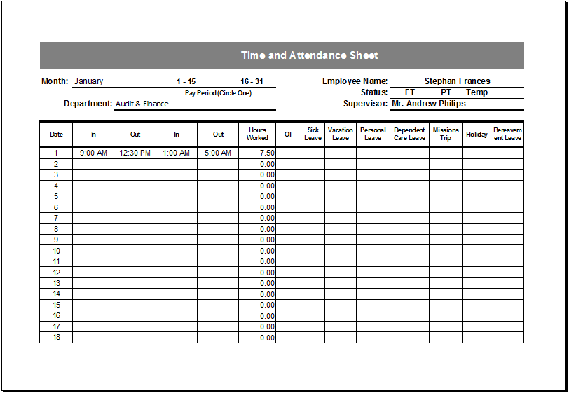 Employee Attendance Sheet With Time Three