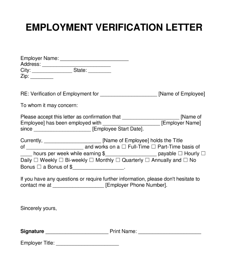 Sample Blank Employment Verification Letter | Every Last Template