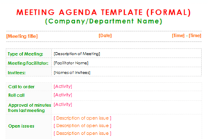 Formal Meeting Agenda Template Three