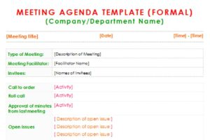Formal-Meeting-Agenda-Template-Three-pdf-300x200 Sample Acknowledgement Letter In Receipt Of Job Applications on