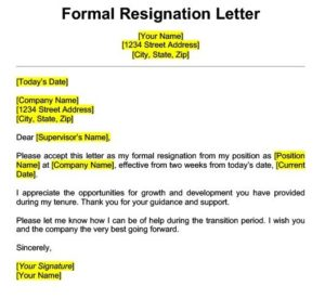 Formal Professional Resignation Letter Template Two