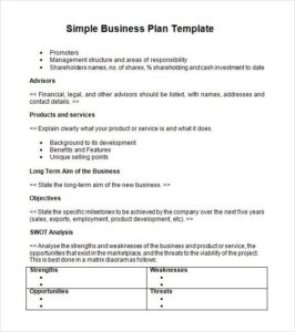 Free Printable Simple Business Plan Template