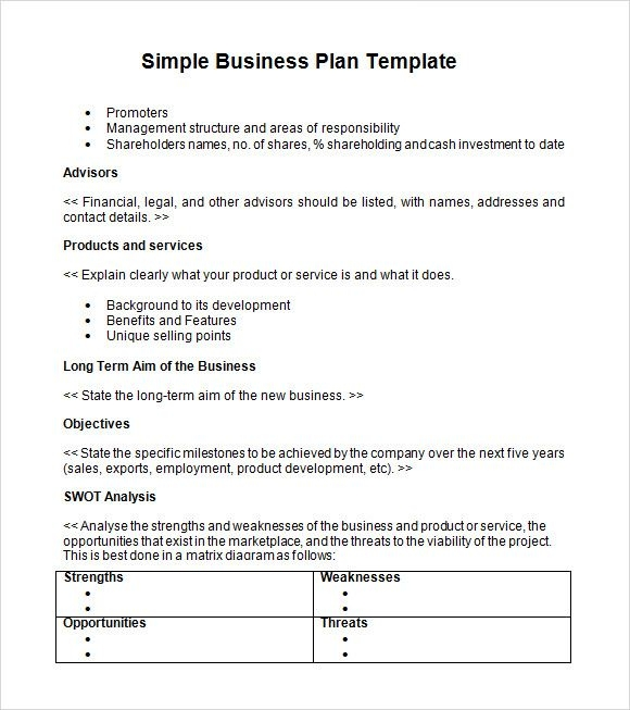 6 free simple business plan template every last template free