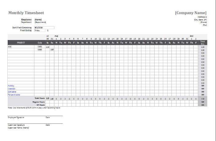 Monthly Attendance Sheet for Employee Four