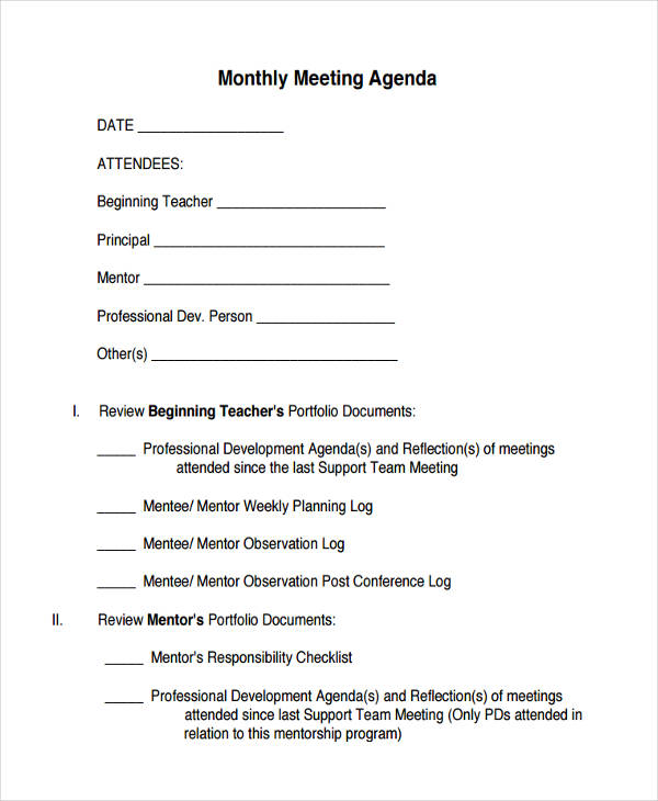 Monthly Meeting Agenda Template Six