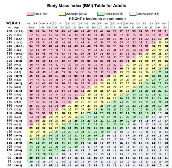 Printable BMI Table Adults