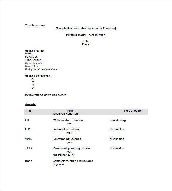 Simple Meeting Agenda Template Two 1