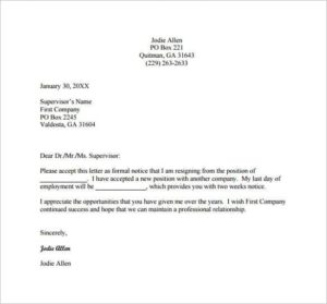 simple short resignation letter one – Every Last Template | Free ...