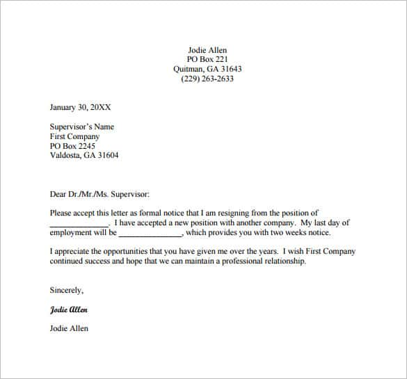 simple short resignation letter one