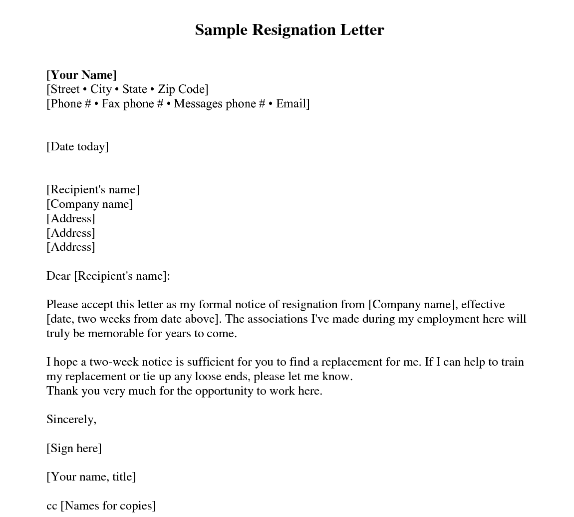 2 Week Notice Letter Template from www.everylasttemplate.com