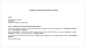 simple sample resignation letter four