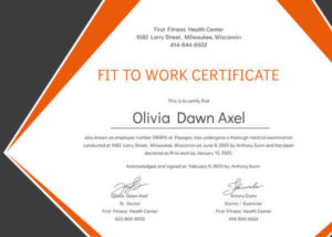 Fitness Medical Certificates for Work Four