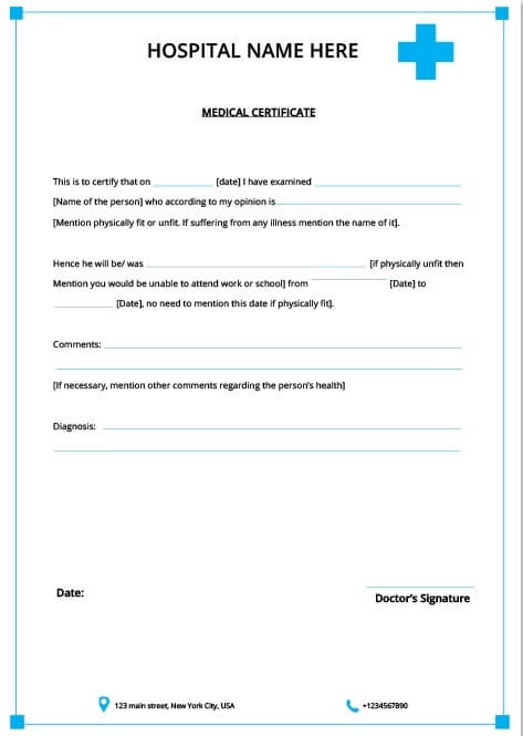 Medical Certificate for Student