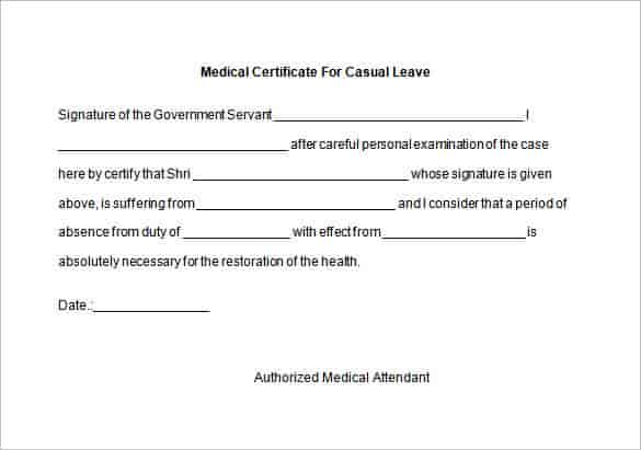 Medical Certificates for Leave of Absence Six