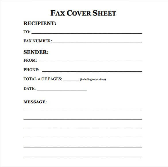 free fax cover sheet template one