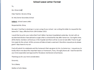 leave letter for school two