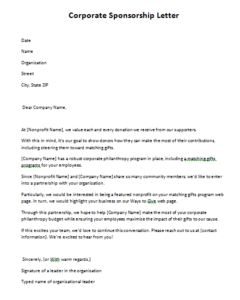 Corporate Sponsorship Letter Two