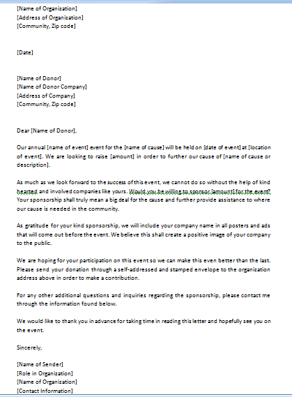 Free Event Sponsorship Letter Template Three
