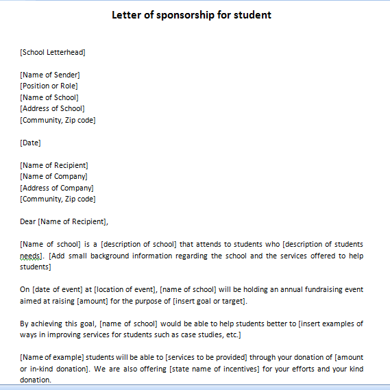 Letter of sponsorship for student Two