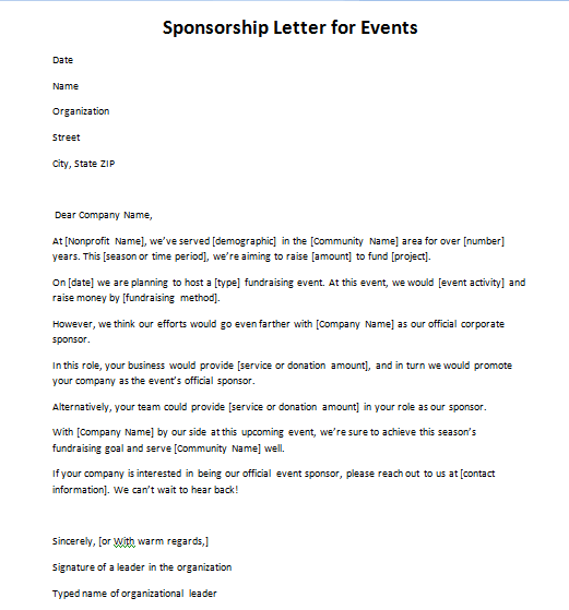 Sponsorship Letter for Events One