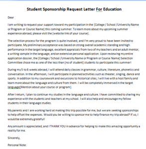 Student Sponsorship Request Letter For Education One