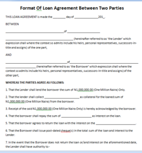 Format Of Loan Agreement Between Two Parties One