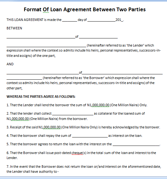 Sample Of Loan Agreement Between Two Parties Every Last