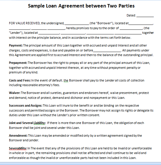 Sample Loan Agreement between Two Parties Two