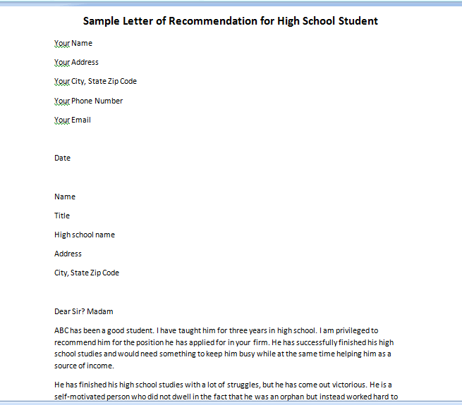 letter recommendation high school student
